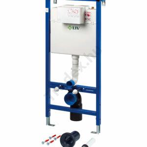Szett: LIV-FIX szárazépítésű elem 9012 (Jog) öblítőtartállyal, függesztett WC kagylóhoz + SELENITE NYOMÓLAP + KOLO WC CSÉSZE