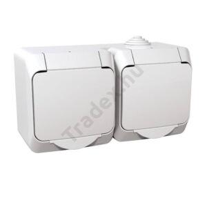Dugalj 2x(2P+F) 16A/250V vízmentes IP44 fehér